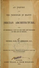 """Cover of """"An inquiry into the principles of beauty in Grecian architecture"""""""