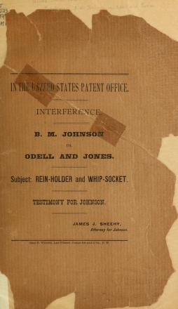 """Cover of """"Interference, B. M. Johnson vs. Odell and Jones"""""""