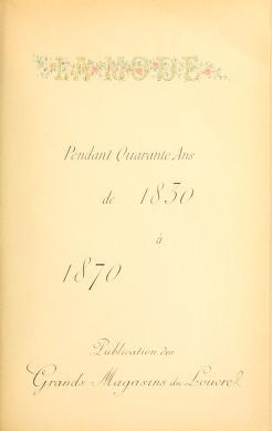 "Cover of ""La mode pendant quarante ans de 1830 à 1870"""