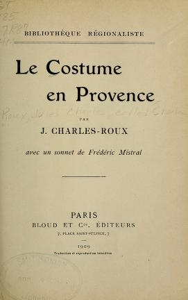 """Cover of """"Le costume en Provence"""""""