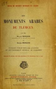 "Cover of ""Les monuments arabes de Tlemcen"""