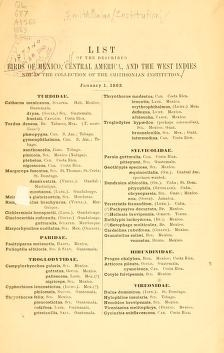 "Cover of ""List of the described birds of Mexico, Central America, and the West Indies"""