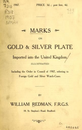 """Cover of """"Marks on gold & silver plate imported into the United Kingdom"""""""