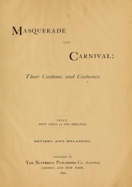 """Cover of """"Masquerade and carnival"""""""