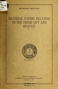 """Cover of """"Material papers relating to the Freer gift and bequest"""""""