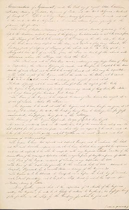 """Cover of """"Memorandum of Agreement [specifications for a locomotive steam engine]"""""""