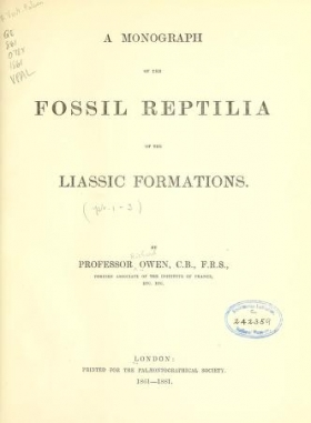 """Cover of """"A monograph of the fossil Reptilia of the Liassic formations"""""""