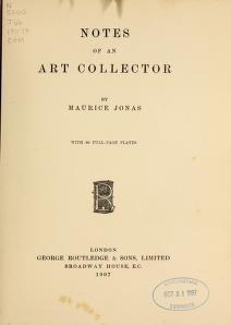 """Cover of """"Notes of an art collector"""""""