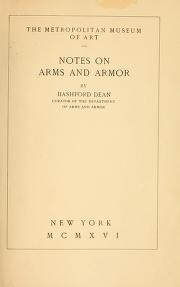 "Cover of ""Notes on arms and armor"""