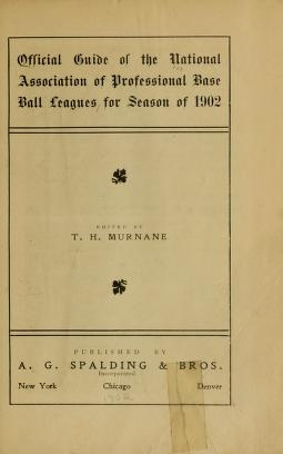 "Cover of ""Official guide of the National association of professional base ball leagues for"""