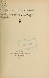 """Cover of """"One hundred early American paintings"""""""
