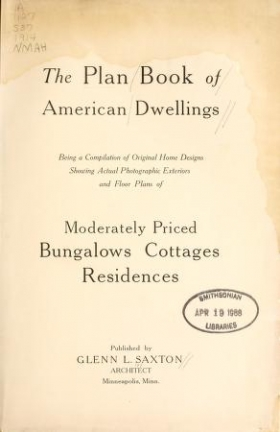 """Cover of """"The plan book of American dwellings"""""""