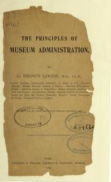 "Cover of ""The principles of museum administration"""