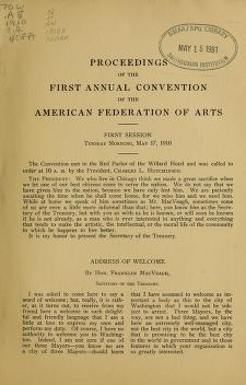 "Cover of ""The proceedings of the first annual convention of the American federation of arts"""