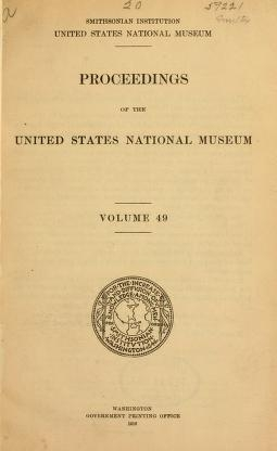 "Cover of ""Proceedings of the United States National Museum"""