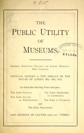 """Cover of """"The Public utility of museums"""""""