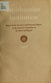 """Cover of """"Report of the Secretary of the Smithsonian Institution and financial report of the Executive Committee of the Board of Regents for the year ending Jun"""""""