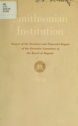 "Cover of ""Report of the Secretary of the Smithsonian Institution and financial report of the Executive Committee of the Board of Regents for the year ending Jun"""
