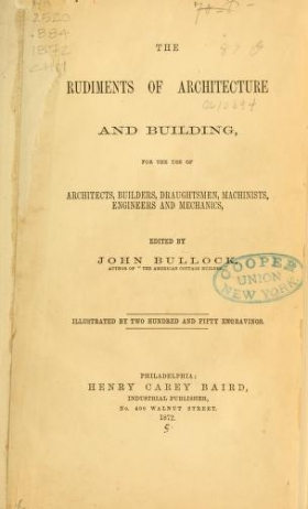 """Cover of """"The rudiments of architecture and building"""""""