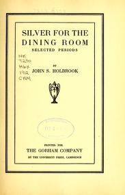 """Cover of """"Silver for the dining room"""""""