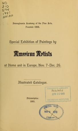 """Cover of """"Special exhibition of paintings by American artists at home and in Europe, Nov. 7-Dec. 26"""""""