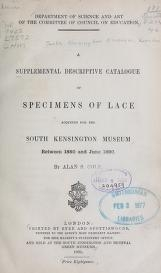 """Cover of """"A supplemental descriptive catalogue of specimens of lace acquired for the South Kensington museum, between June 1880 and June 1890 / By Alan S. Cole"""""""