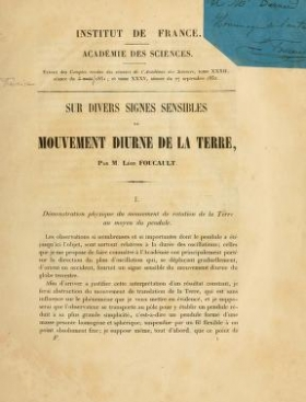 "Cover of ""Sur divers signes sensibles du mouvement diurne de la terre /"""