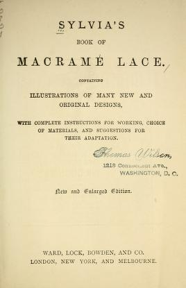 """Cover of """"Sylvia's book of macramé lace"""""""