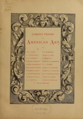 "Cover of ""Various phases of American art"""