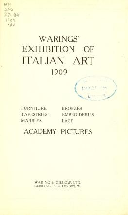 """Cover of """"Warings' exhibition of Italian art 1909"""""""