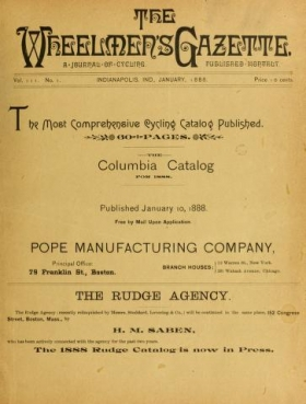 "Cover of ""The Wheelmen's gazette"""