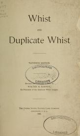 """Cover of """"Whist and duplicate whist"""""""