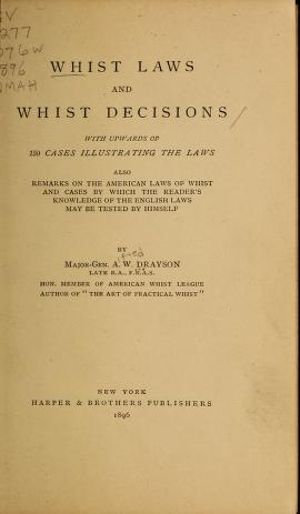 """Cover of """"Whist laws and whist decisions"""""""