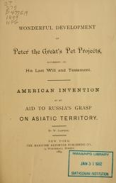 "Cover of ""Wonderful development of Peter the Great's pet projects"""