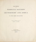 "Cover of ""Facsimile of the Washington manuscript of Deuteronomy and Joshua in the Freer collection /"""