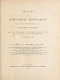 """Cover of """"Results of astronomical observations made during the years 1834, 5, 6, 7, 8, at the Cape of Good Hope"""""""