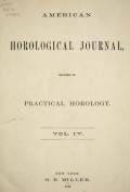 "Cover of ""American horological journal, devoted to practical horology"""