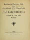 "Cover of ""Catalogue of a collection of old embroideries of the Greek islands and Turkey"""