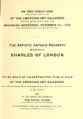 Catalogue of the Extensive and Exceedingly Valuable Artistic Property : belonging to the Widely Known Connoisseur Charles of London