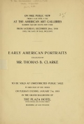 """Cover of """"De luxe illustrated catalogue of early American portraits"""""""