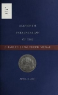 "Cover of ""Eleventh presentation of the Charles Lang Freer Medal, April 5, 2001"""