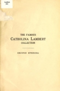 """Cover of """"The famous Catholina Lambert collection."""""""