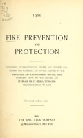 """Cover of """"Fire prevention and protection"""""""