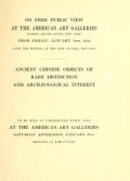 """Cover of """"Illustrated catalogue of a remarkable collection of early Chinese pottery porcelains and bronzes"""""""
