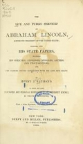 """Cover of """"The life and public services of Abraham Lincoln ..."""""""