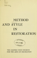 """Cover of """"Method and style in restoration"""""""