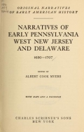 """Cover of """"Narratives of early Pennsylvania, West New Jersey and Delaware, 1630-1707"""""""