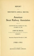 """Cover of """"Report of the ... Annual Meeting of the American Street Railway Association"""""""