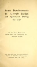 Some developments in aircraft design and application during the War / by the Right Honourable Lord Weir of Eastwood, P.C