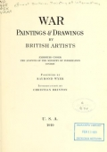 "Cover of ""War paintings & drawings by British artists, exhibited under the auspices of the Ministry of information, London;"""